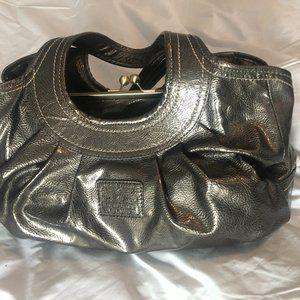 Metallic Silver Coach Bag
